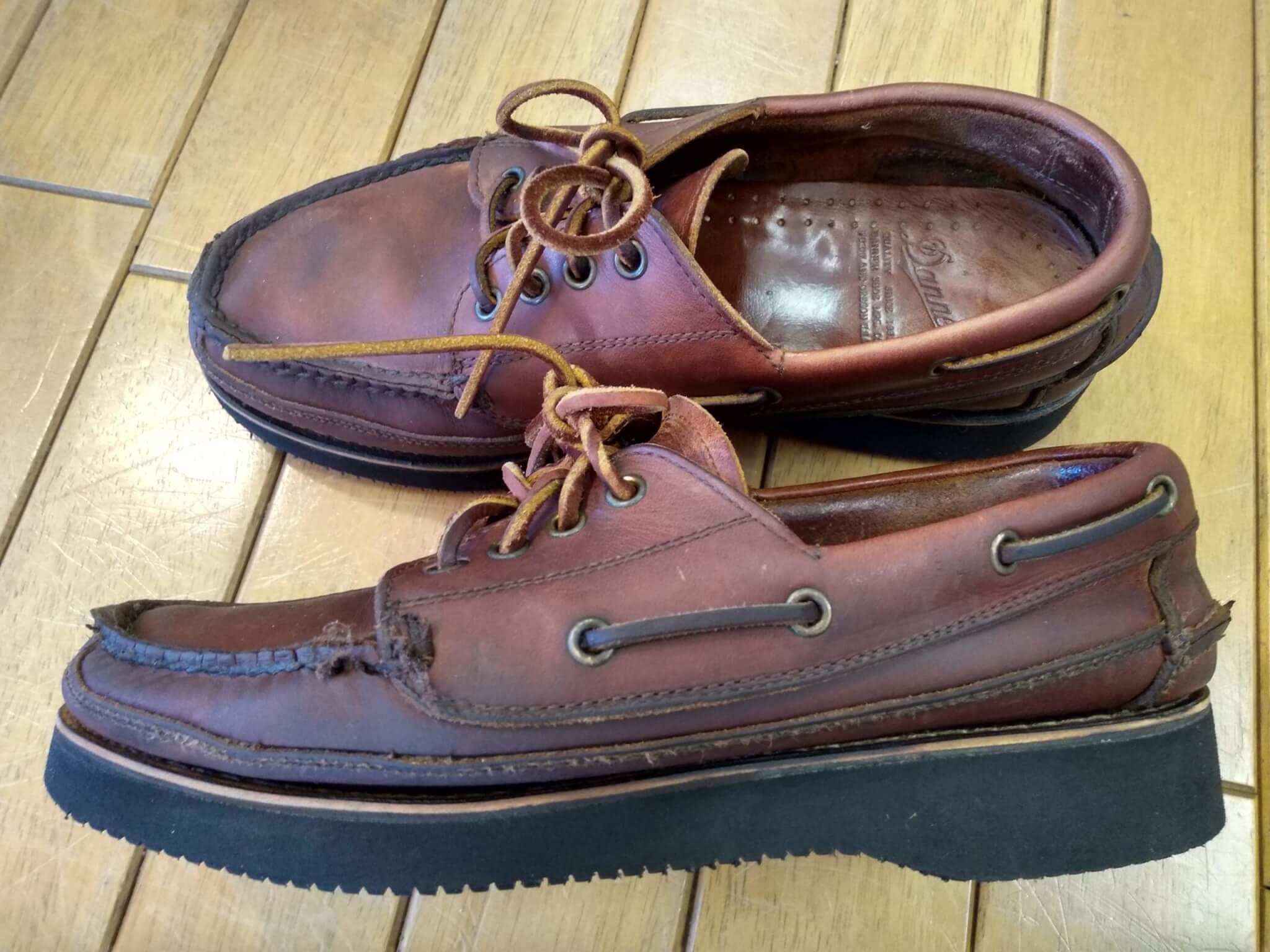 ダナーのモカシンのオールソールの靴修理