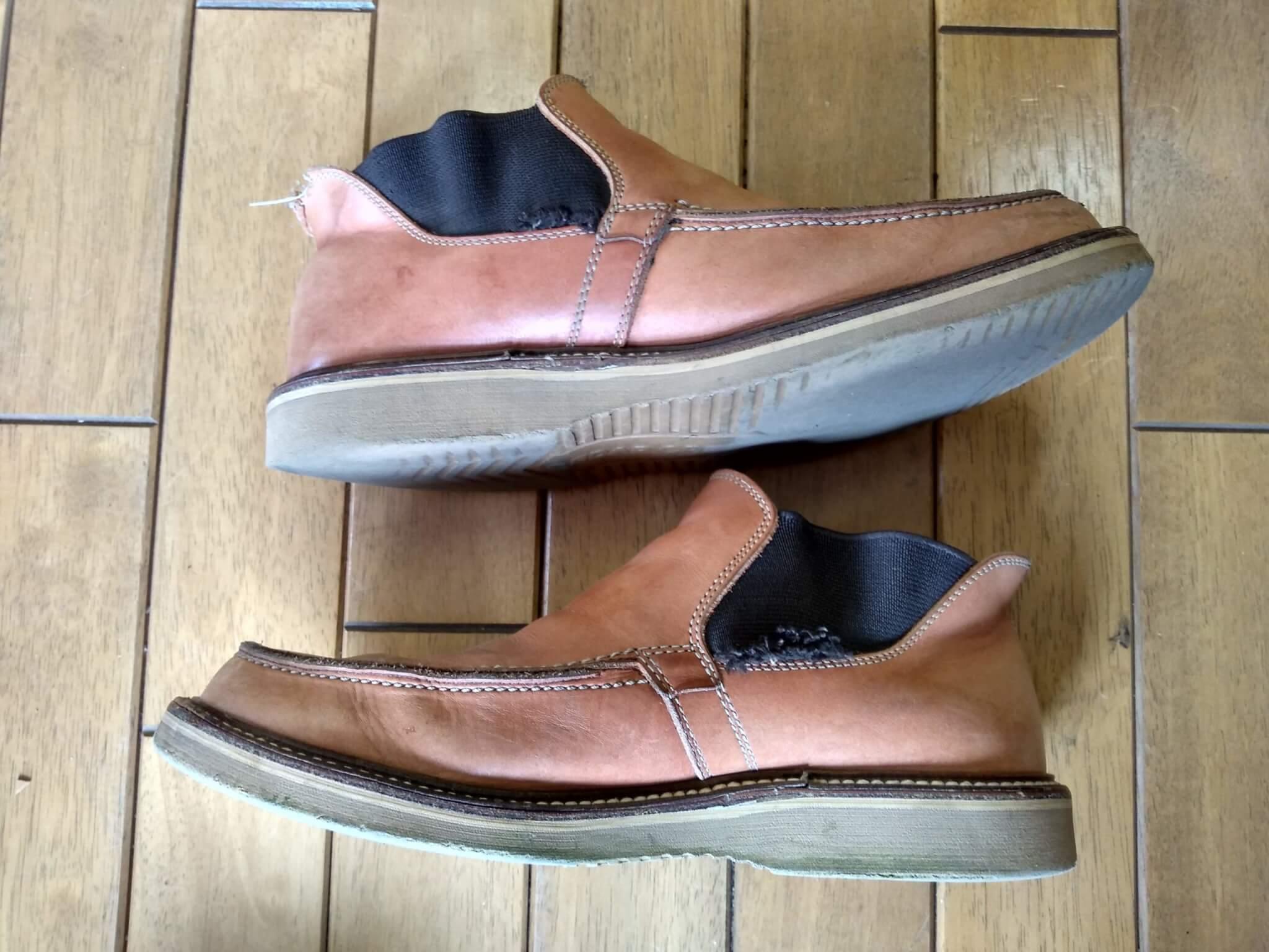 サイドゴアブーツのオールソール&ゴム交換の靴修理