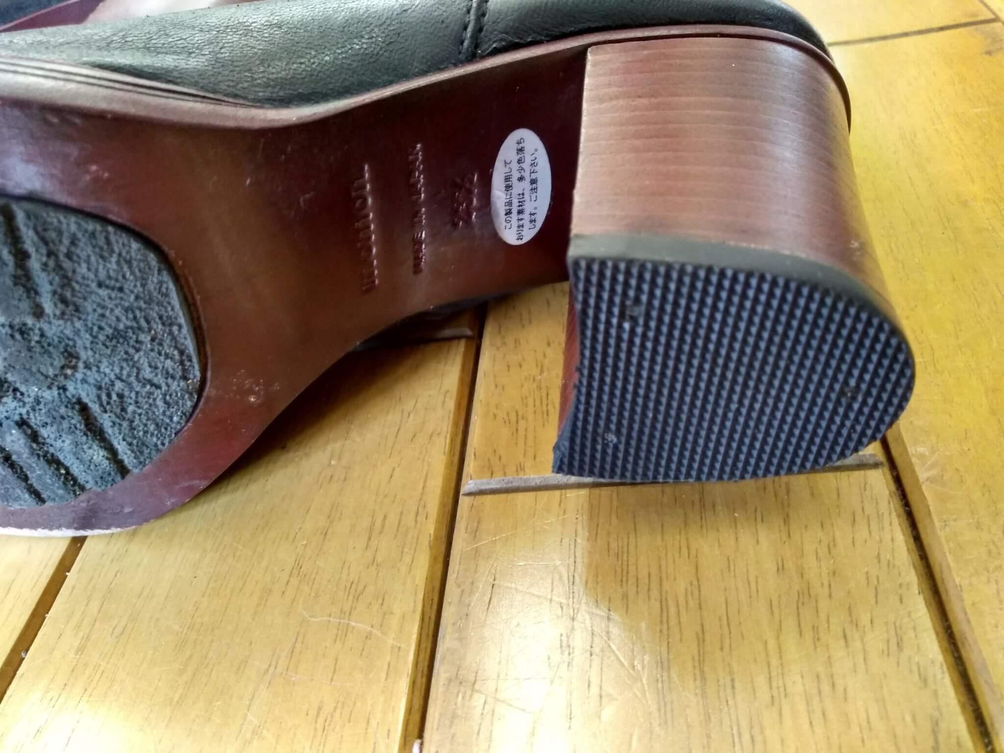 レディース・ブーツのトップリフト交換の靴修理
