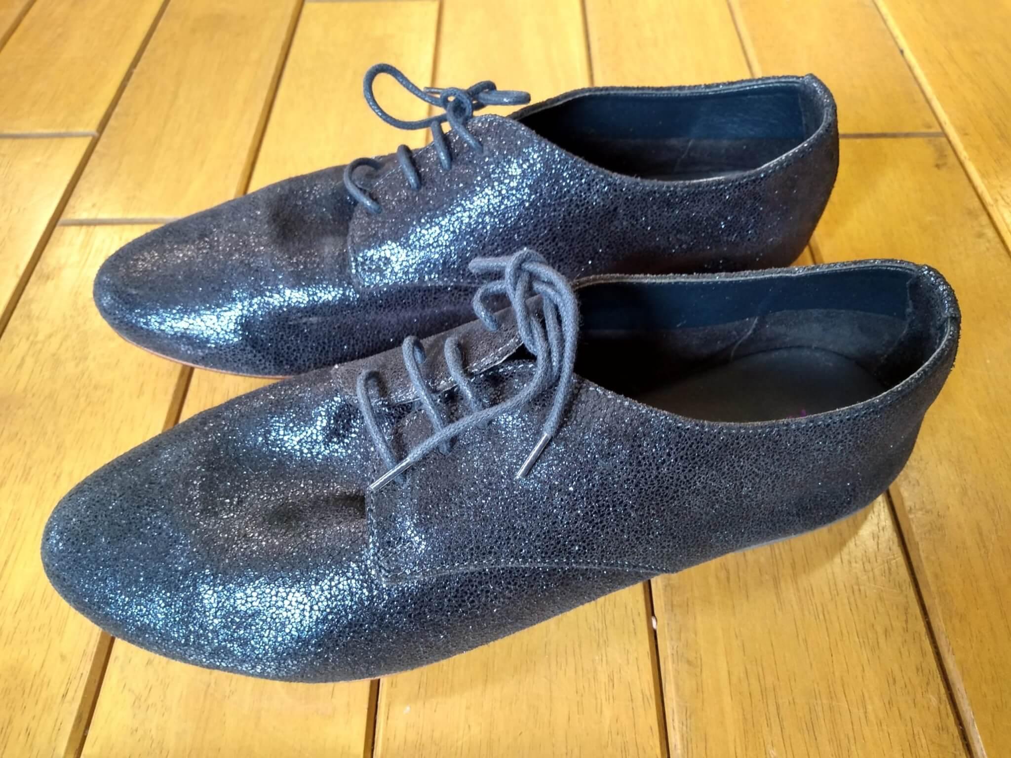 レディース・フラットシューズのトップリフト交換&ゴム半張りの靴修理